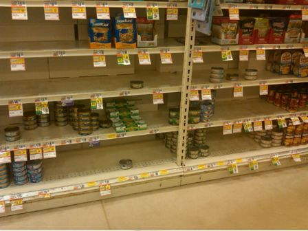 Supermarkets shelves emptied of canned tuna.